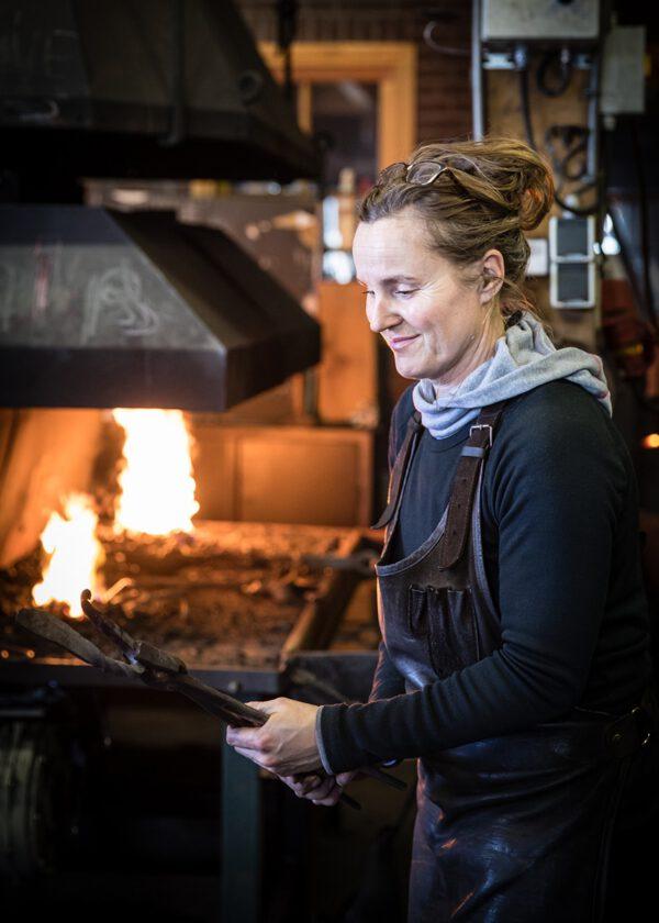 daughter blacksmith at work